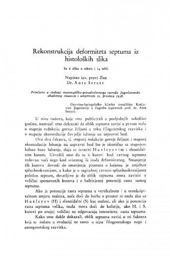 Rekonstrukcija deformiteta septuma iz histoloških slika