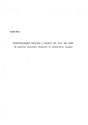 Gospodarske prilike u Rijeci od 1813. do 1848.