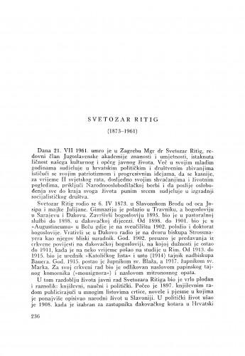 Svetozar Rittig (1873-1961) : [nekrolog] / V. Štefanić