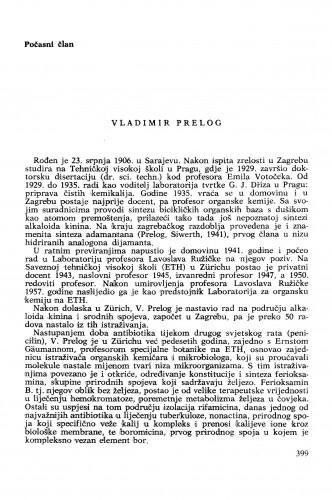 Vladimir Prelog : [biografije novih članova Akademije]