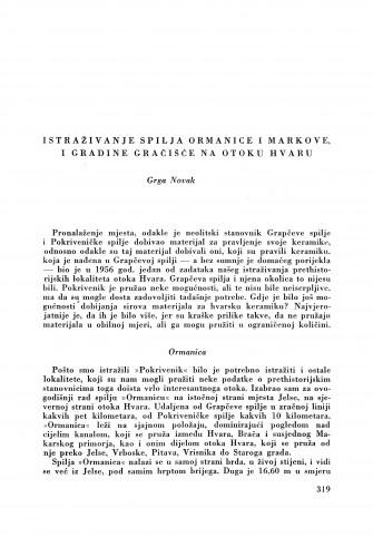 Istraživanje spilja Ormanice i Markove i gradine Grašćice na otoku Hvaru / G. Novak