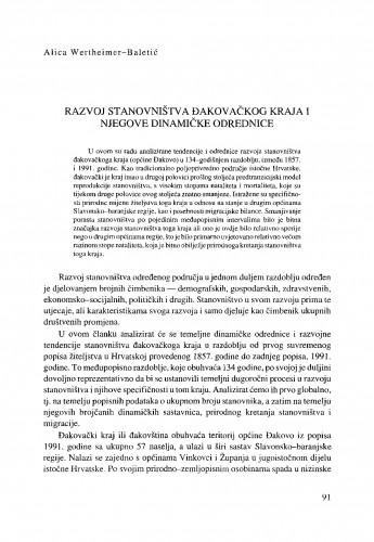 Razvoj stanovništva đakovačkog kraja i njegove dinamičke odrednice