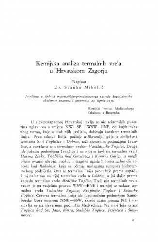Kemijska analiza termalnih vrela u Hrvatskom Zagorju