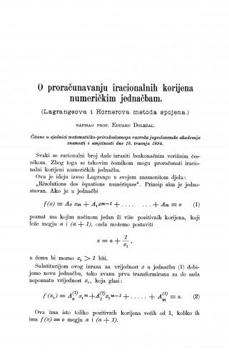 O proračunavanju iracijonalnih korijena numeričkim jednačbam