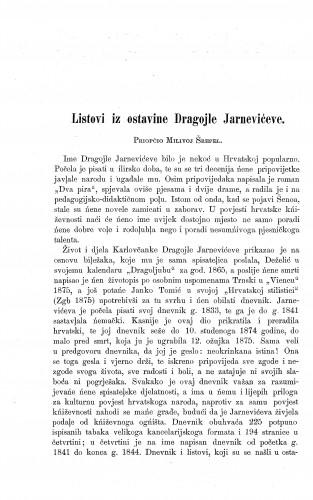Listovi iz ostavine Dragojle Jarnevićeve / Milivoj Šrepel