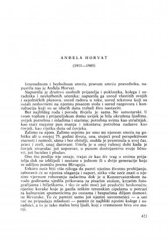 Anđela Horvat (1911-1985) : [nekrolozi] / Branko Fučić