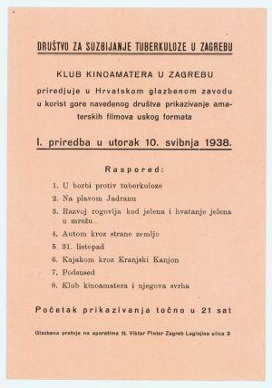 Letak Društva za suzbijanje tuberkuloze. Priredba Kluba kinoamatera od 10. svibnja 1938. godine