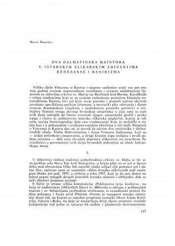 Dva dalmatinska majstora u istarskim zbivanjima renesanse i manirizma : Bulletin Razreda za likovne umjetnosti Jugoslavenske akademije znanosti i umjetnosti