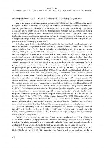 Historijski zbornik, god. LXI, br. 1 - br. 2, Zagreb 2008. : [prikaz] : Zbornik Odsjeka za povijesne znanosti Zavoda za povijesne i društvene znanosti Hrvatske akademije znanosti i umjetnosti
