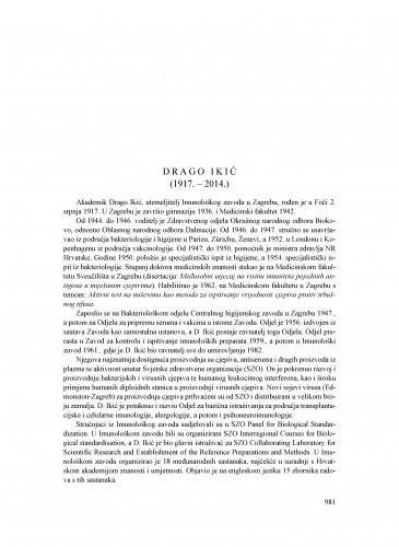 Drago Ikić (1917.-2014.) : [nekrolog] : Ljetopis