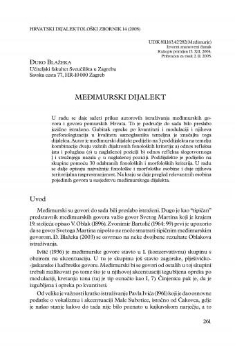 Međimurski dijalekt : Hrvatski dijalektološki zbornik