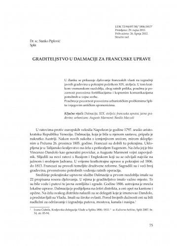 Graditeljstvo u Dalmaciji za francuske uprave : Adrias : zbornik Zavoda za znanstveni i umjetnički rad Hrvatske akademije znanosti i umjetnosti u Splitu