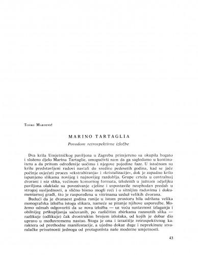 Marino Tartaglia : povodom retrospektivne izložbe : Bulletin Razreda za likovne umjetnosti Jugoslavenske akademije znanosti i umjetnosti