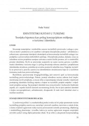 Identitetski sustavi u turizmu : teorijska hipoteza kao prilog koncepcijskom mišljenju o turizmu i identitetu