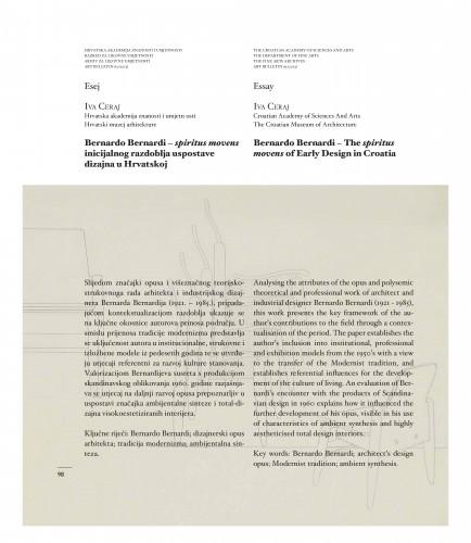 Bernardo Bernardi - spiritus movens inicijalnog razdoblja uspostave dizajna u Hrvatskoj : Art Bulletin