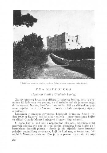 Dva nekrologa (Lj. Šestić i V. Varlay) : Bulletin Zavoda za likovne umjetnosti Jugoslavenske akademije znanosti i umjetnosti