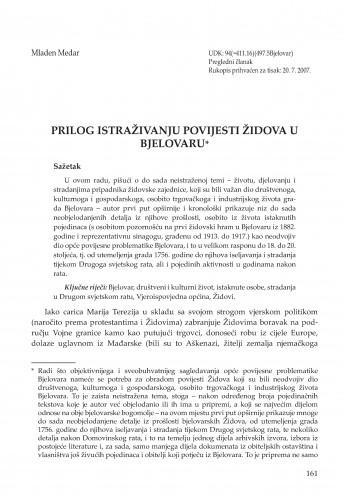 Prilog istraživanju povijesti Židova u Bjelovaru : Radovi Zavoda za znanstvenoistraživački i umjetnički rad u Bjelovaru