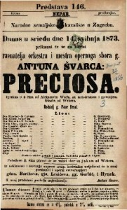 Preciosa Igrokaz u 4 čina / od Aleksandra Wolfa, sa melodramom i pjevanjem