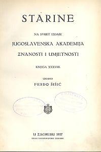 Knj. 38(1937) : Starine