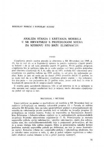 Analiza stanja i kretanja morbila u SR Hrvatskoj s prijedlogom mjera za njihovu što bržu eliminaciju