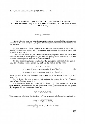 The general solution of the Frenet system of differential equations for curves in the Galilean space G3