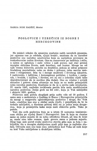 Poslovice i uzrečice iz Bosne i Hercegovine / R. Nuri Hadži