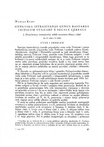 Genetska istraživanja genus bastarda Triticum vulgare x Secale cereale