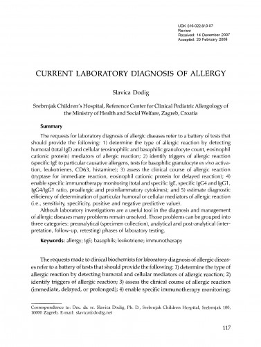 Current laboratory diagnosis of allergy
