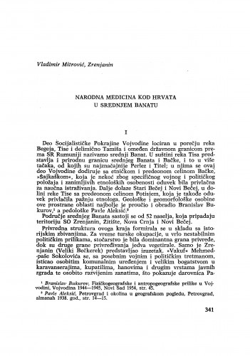 Narodna medicina kod Hrvata u srednjem Banatu / V. Mitrović