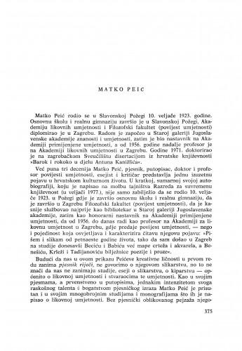 Matko Peić : [biografije novih članova Akademije]