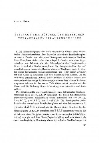 Beiträge zum Büschel der Reyeschen tetraedralen Strahlenkomplexe