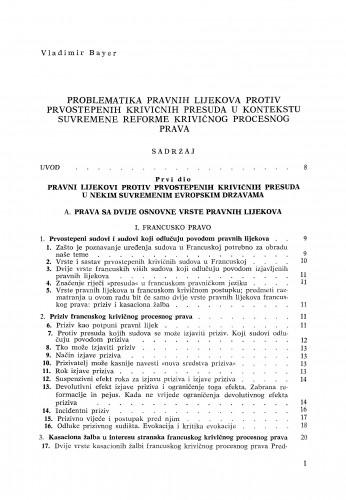 Problematika pravnih lijekova protiv prvostepenih krivičnih presuda u kontekstu suvremene reforme krivičnog procesnog prava
