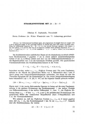 Strahlensysteme mit &lambda h; + 2h = 0