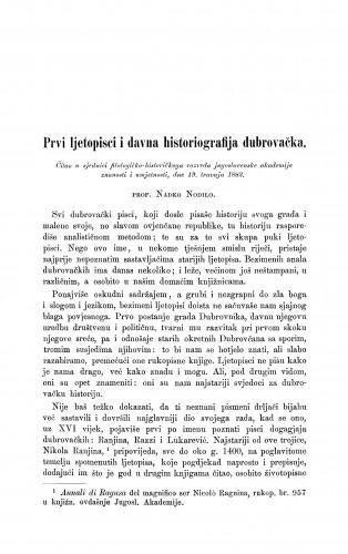 Prvi ljetopisci i davna historiografija dubrovačka
