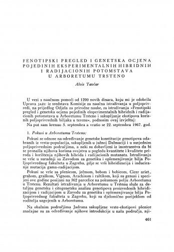 Fenotipski pregled i genetska ocjena pojedinih eksperimentalnih hibridnih i radijacionih potomstava u Arboretumu Trsteno / A. Tavčar