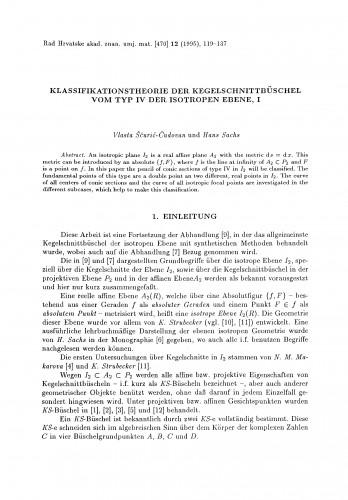 Klassifikationstheorie der Kegelschnittbüschel vom Typ IV der isotropen Ebene, I