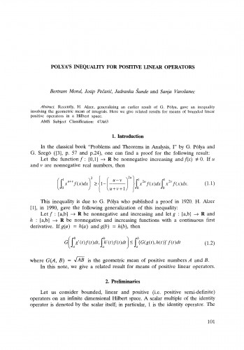 Polya's inequality for positive linear operators