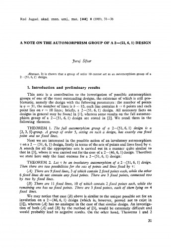 A note on the automorphism group of A2-(51, 6,1) design
