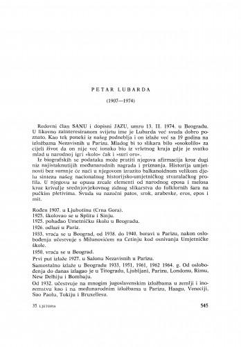 Petar Lubarda (1907-1974) : [nekrolozi] / M. Tartaglia
