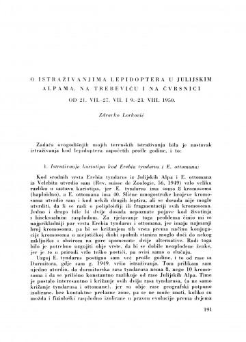 O istraživanjima lepidoptera u Julijskim Alpama na Trebeviću i na Čvrsnici od 21. VII - 27. VII i 9. - 23. VIII 1950 / Z. Lorković