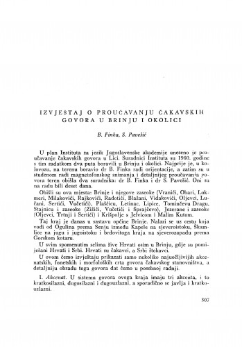 Izvještaj o proučavanju čakavskih govora u Brinju i okolici / B. Finka i S. Pavešić