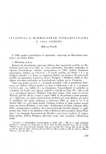 Izvještaj o hidrološkim istraživanjima u 1964. godini / M. Petrik
