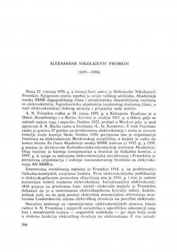 Aleksandar Nikolajevič Frumkin (1895-1976) : [nekrolozi] / M. Karšulin