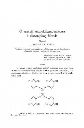 O reakciji oktooksitetrafeniletana i diazonijskog klorida