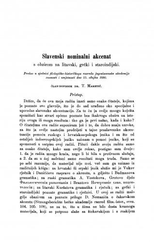 Slavenski nominalni akcenat s obzirom na litavski, grčki i staroindijski