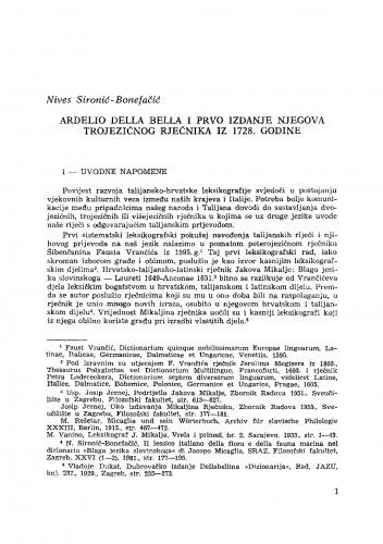 Ardelio Della Bella i prvo izdanje njegova trojezičnog rječnika iz 1728. godine : RAD