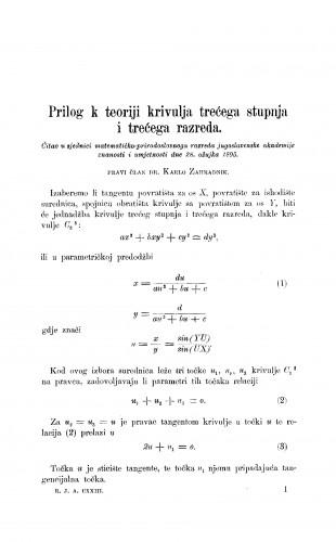 Prilog k teoriji krivulja trećega reda i trećega razreda
