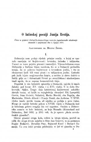 O latinskoj poeziji Junija Restija