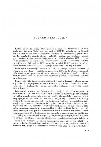 Eduard Hercigonja : [biografije novih članova Akademije]