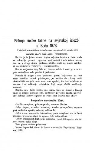 Nekoje riedke biline na svjetskoj izložbi u Beču 1873. : RAD